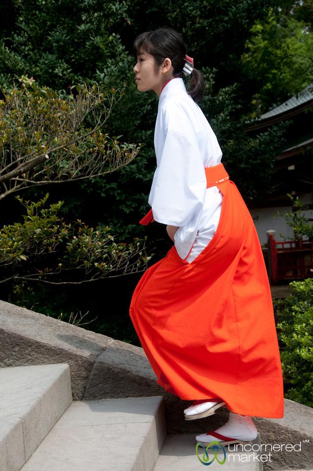 Miko, a Female Shinto Helper at Tsurugaoka Hachimangu Shrine - Kamakura, Japan