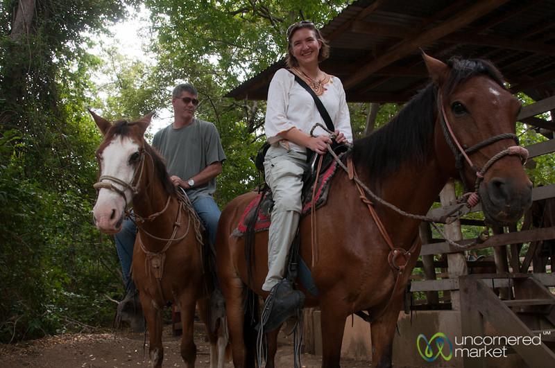 Audrey & Richard Get Ready for Horse Riding - Morgan's Rock, Nicaragua