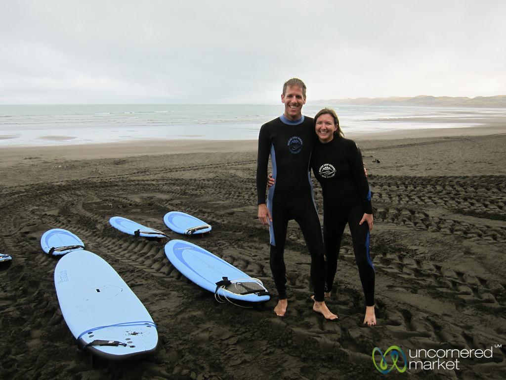 Dan & Audrey Surfing in Raglan - North Island, New Zealand