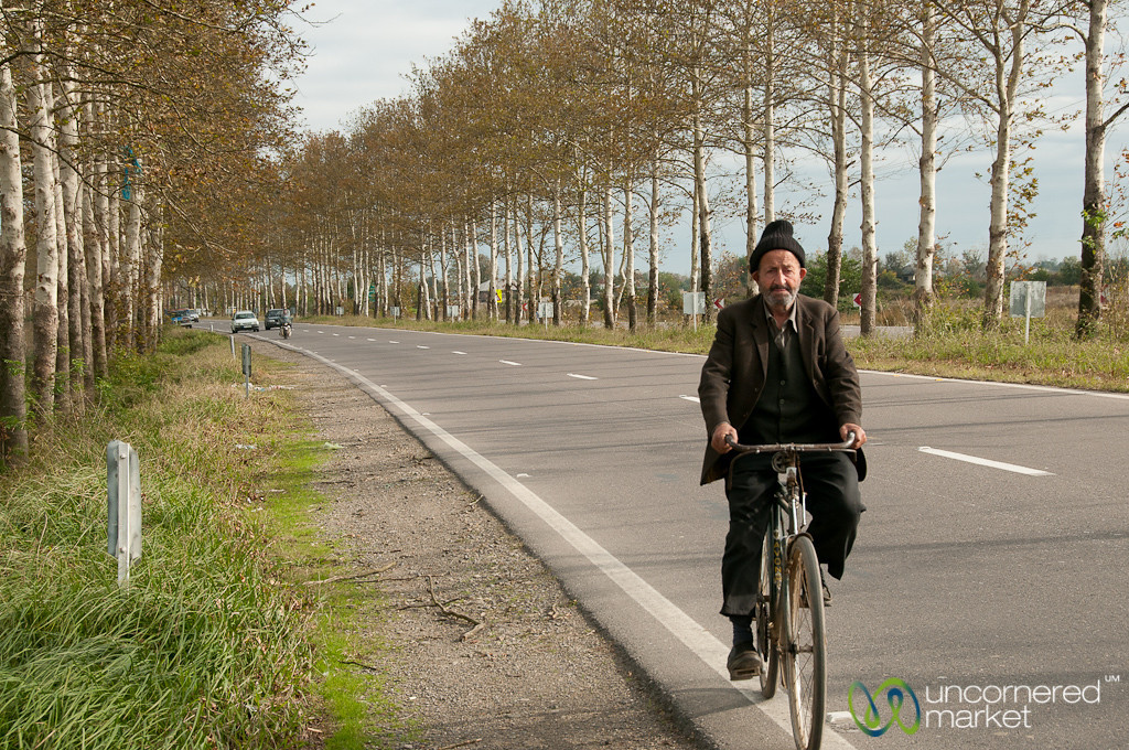 Bicyclist on Way to Masouleh, Iran