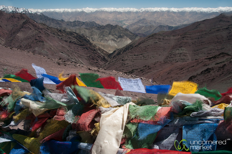 Prayer Flags and Mountain Views Greet us at the Top Gongmaru La Pass - Ladakh, India