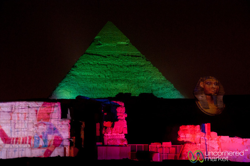 Giza Pyramids at Sound and Light Show - Egypt