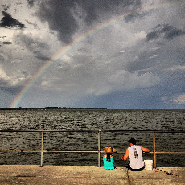 TGIF folks! Rainbow chasing in central Florida, admiring a father & daughter gone fishin'