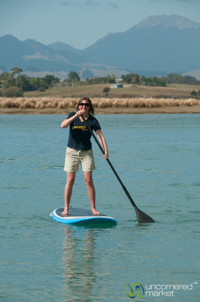 Audrey Tackles the Paddle Board - Mapua, New Zealand