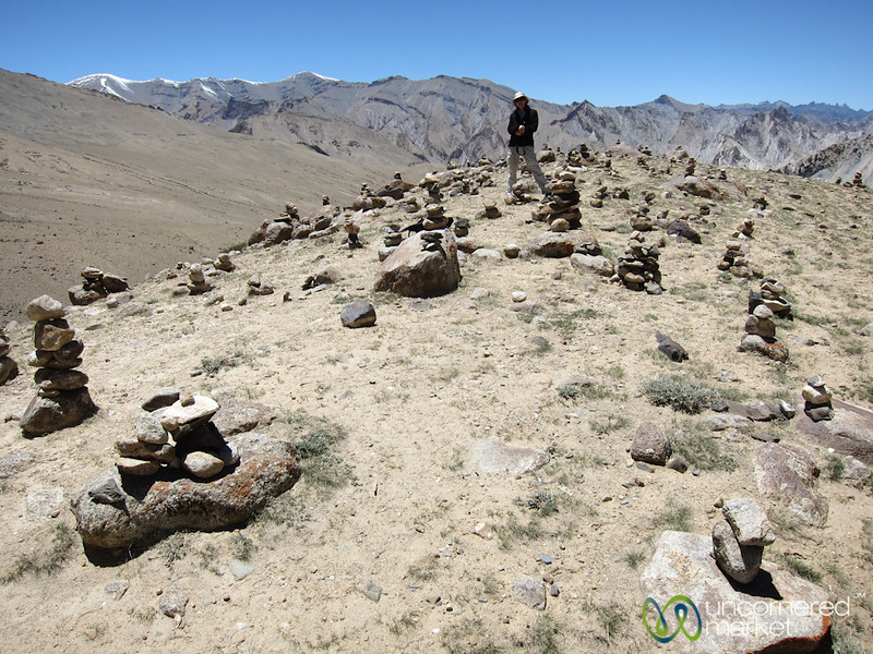 Audrey Amidst Cairn (stacked stones) - Markha Valley Trek, Ladakh