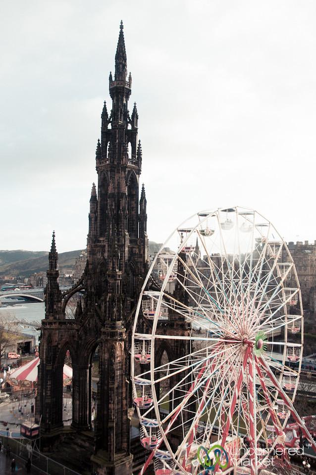 Sir Walter Scott Memorial and Ferris Wheel - Edinburgh, Scotland