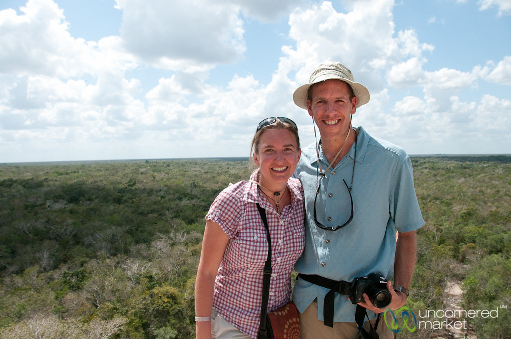 Dan & Audrey at the top of Coba Pyramid - Yucatan, Mexico