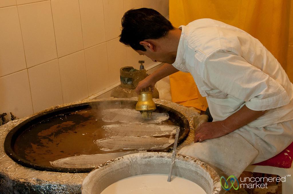 Making Gol Reshte Dessert in Rasht, Iran