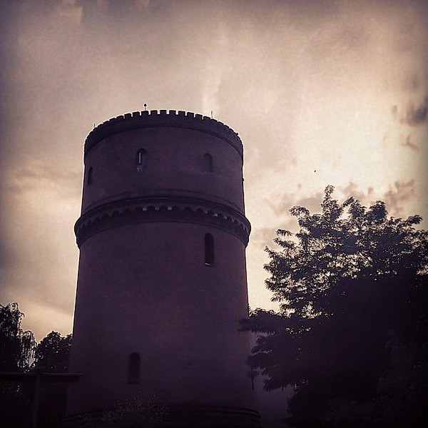 Well-defended water, crenelated water tower, Berlin