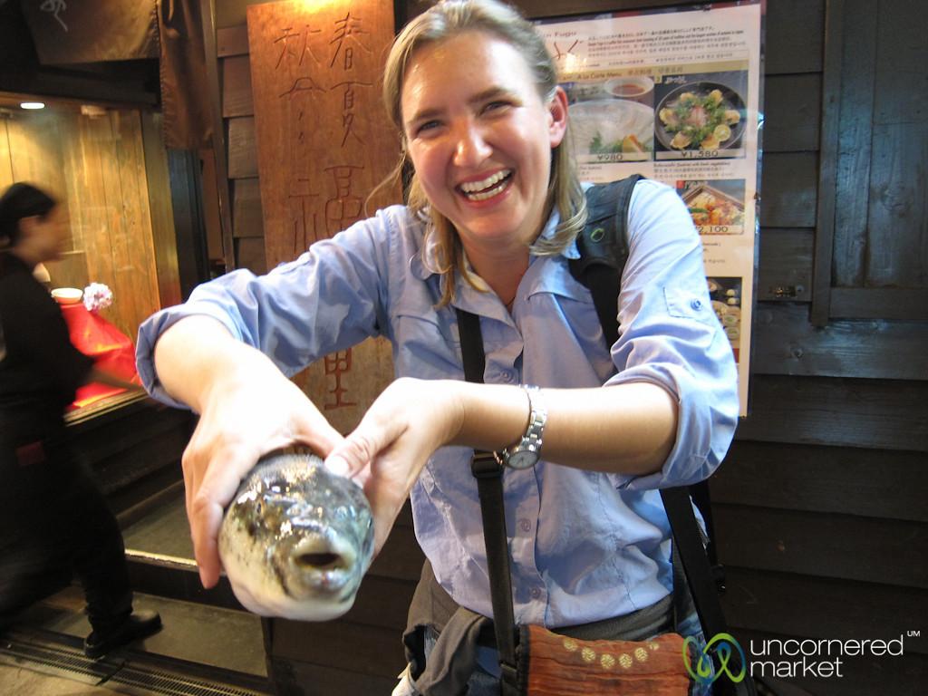 Audrey Holding the Blowfish (Fugu) - Osaka, Japan