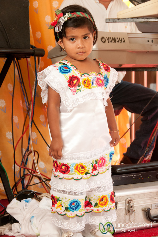 Mexican Girl in Traditional Dress - Cozumel, Mexico