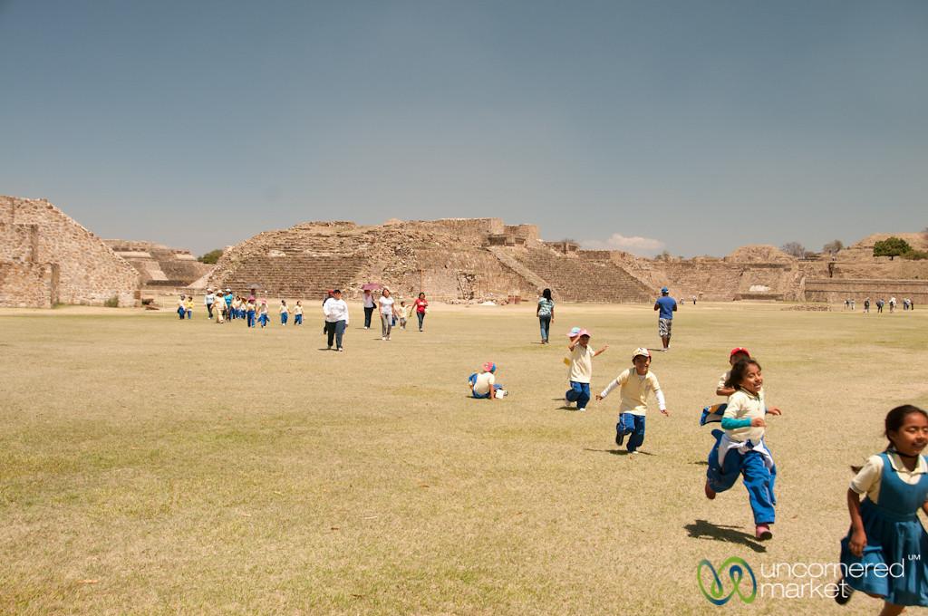 Kids Running Across Monte Alban - Oaxaca, Mexico