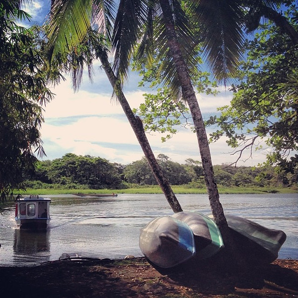 Want to go for a ride? A stack of canoes, a cache of palms, a dose of water and blue sky. A recipe from Costa Rica.