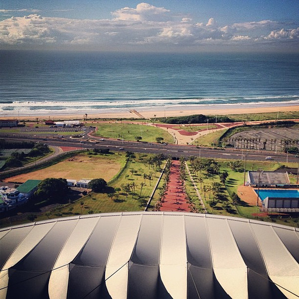 Blue skies, blue sea, a little bit of geometry. View atop Moses Mabhida stadium, Durban #SouthAfrica