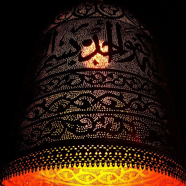 Light cast in Arabic, design inspiration via the shawarma joint around the corner