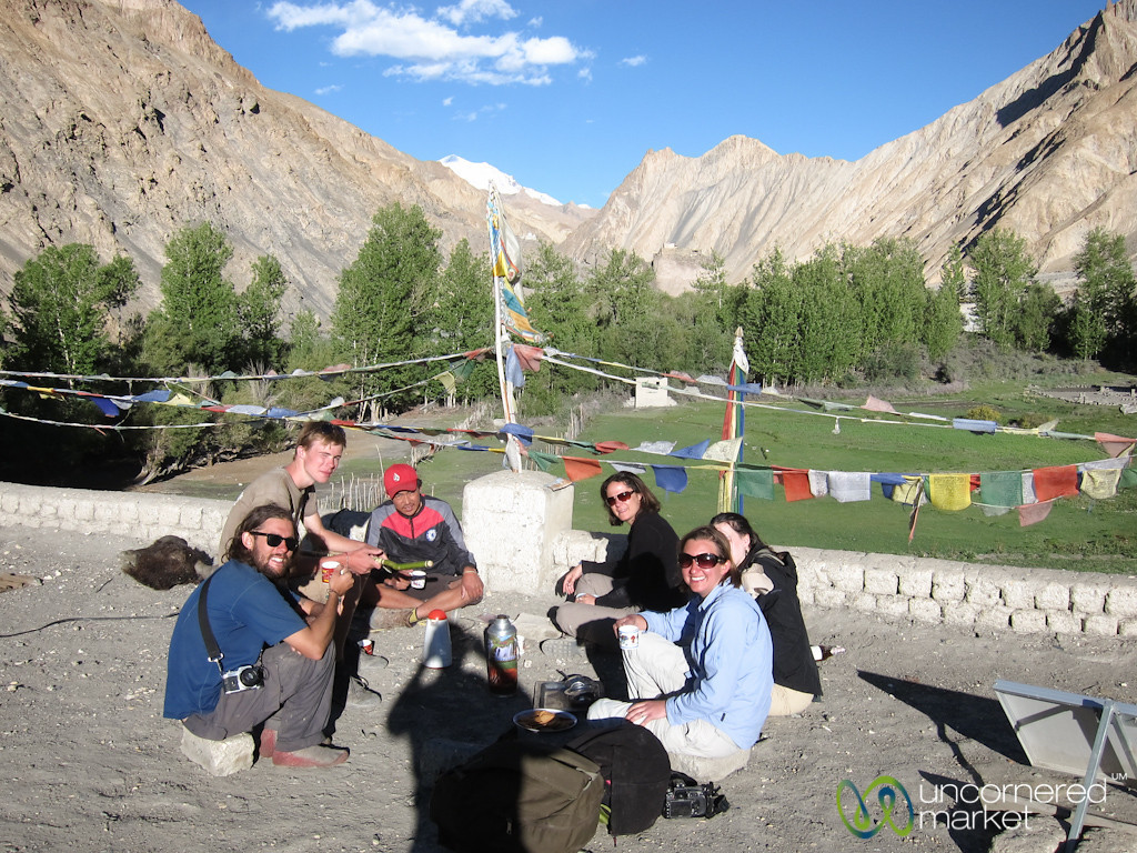 Tea time on top of Homestay House in Markha Village - Ladakh, India