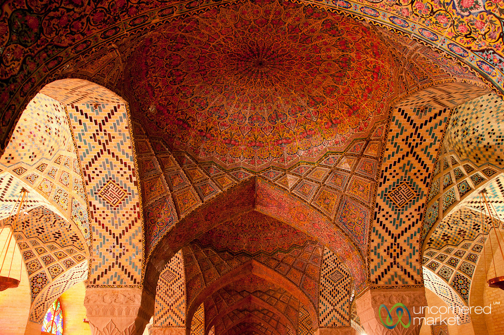 Inside Pink Mosque - Shiraz, Iran