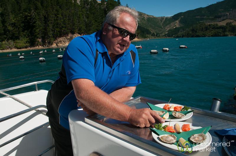 Chris Explains Seafood Feast on Seafood Odyssea - New Zealand