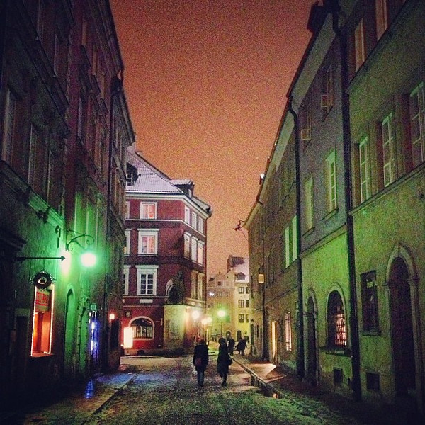 Almost forgot this one...A winter walk at night. Warsaw Old Town #Poland