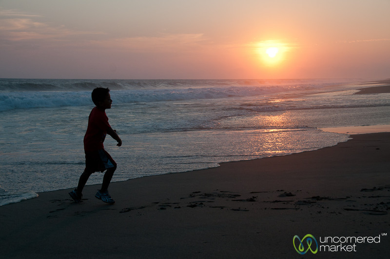 Running Along Playa La Ventanilla at Sunset - Mazunte, Mexico