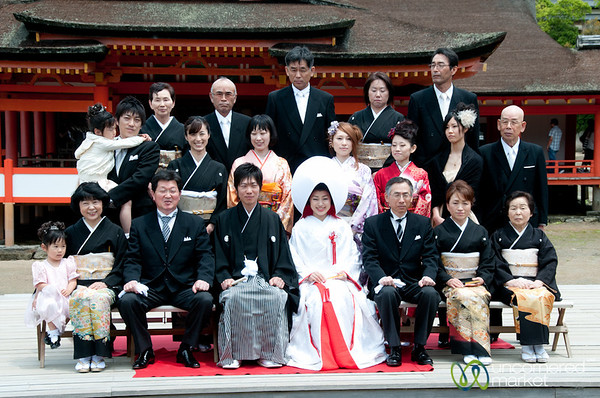 Japanese Wedding Family Photo - Itsukushima Shinto Shrine, Miyajima