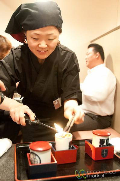 Fugu Sake on Fire - Osaka, Japan