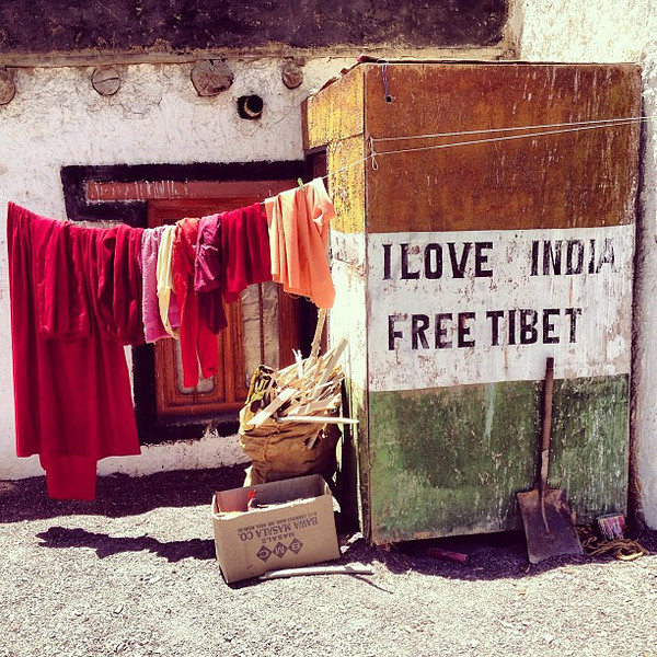 Monk laundry + a very common sentiment shared on signs and flown on flags across the way northern Indian region of Ladakh. Not surprising since the area is very much Tibetan Buddhist. The other feature to note is the recent June 2013 incursion of Chinese