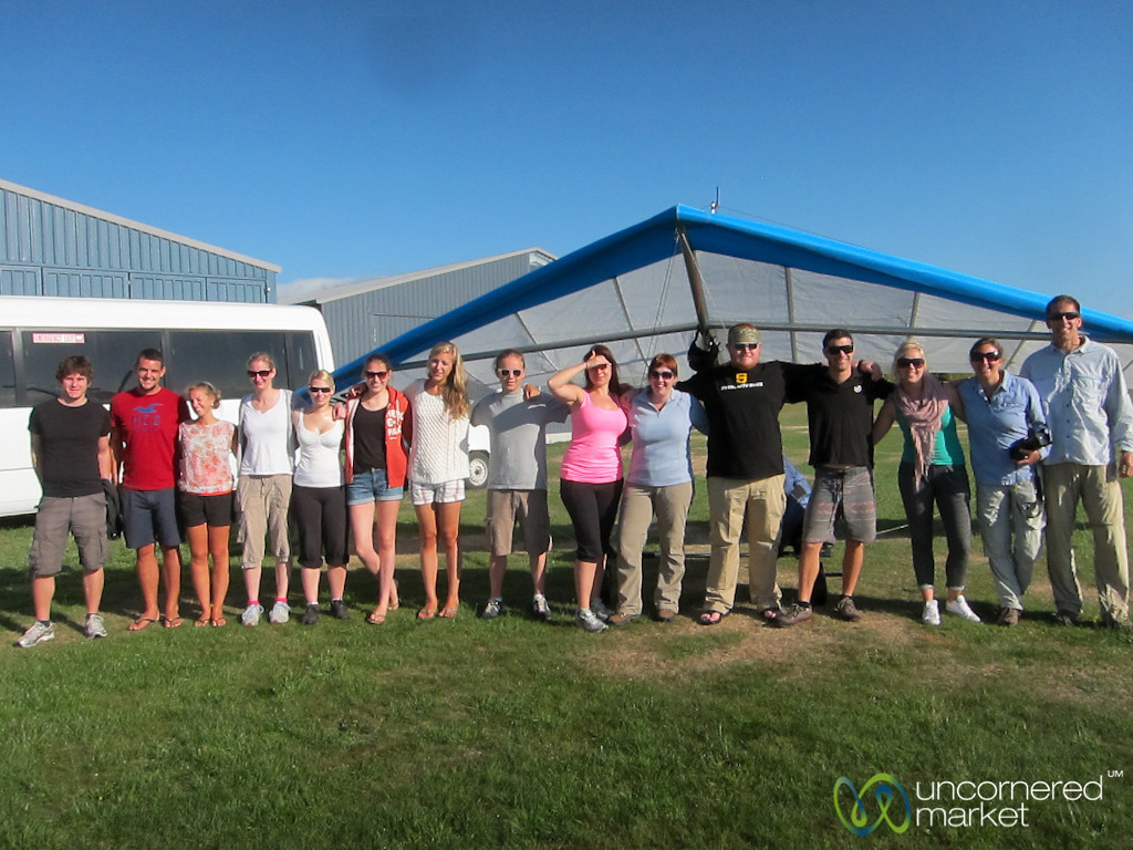 G Adventures Group at Hang Gliding - Abel Tasman, New Zealand