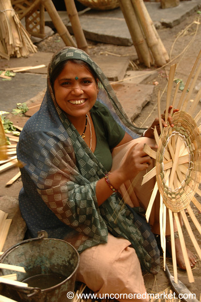 Basket Weaver at Market - Rajasthan, India