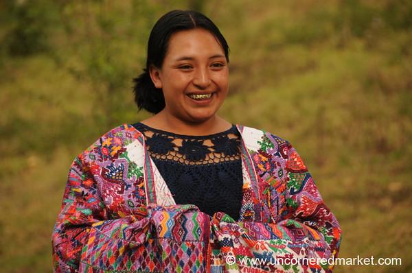 Guatemalan Woman with Embroidery - San Pedro Sacatepequez, Guatemala