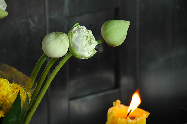 Candle and Flowers - Bangkok, Thailand