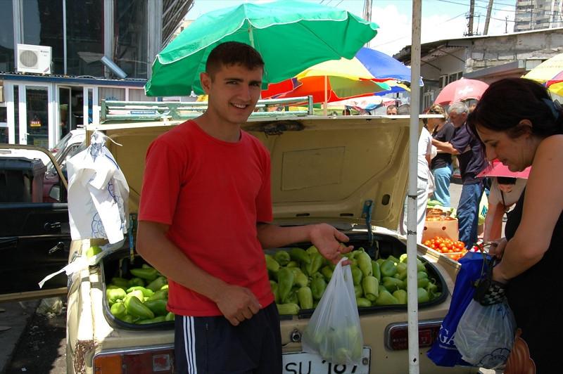 Buying Green Peppers - Yerevan, Armenia