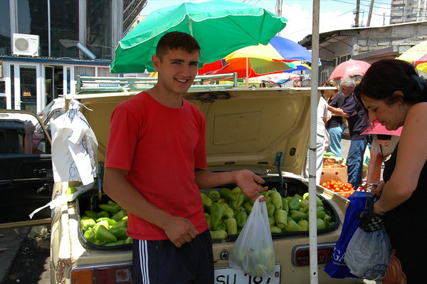 Buying Green Peppers - Yerevan, Armenia