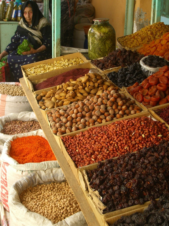 Dried Fruit and Nut Stand at Market - Baku, Azerbaijan