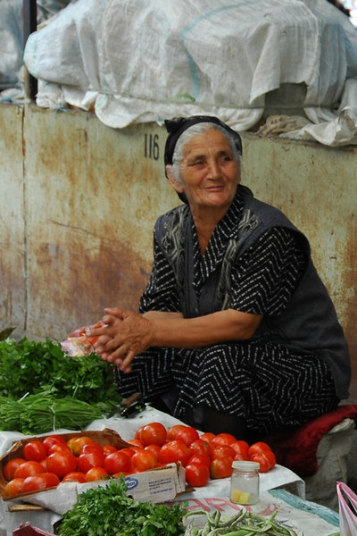Tomatoes and Herbs Vendor - Shaki, Azerbaijan
