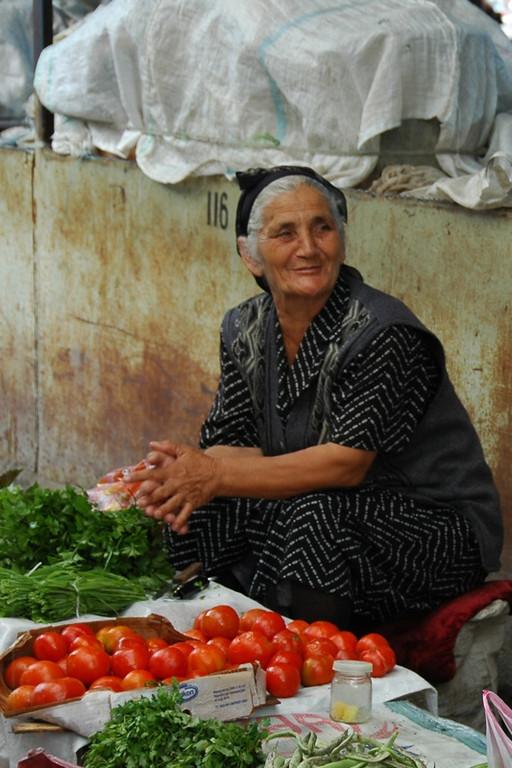 Tomatoes and Herbs Vendor - Shaki, Azerbaijan
