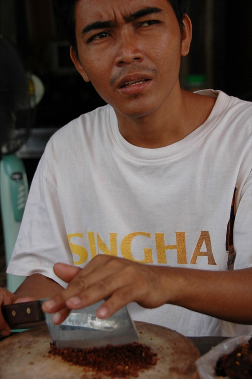 Man Chopping Chillies - Battambang, Cambodia