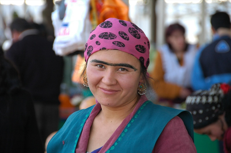 Tajik Woman with Unibrow - Dushanbe, Tajikistan