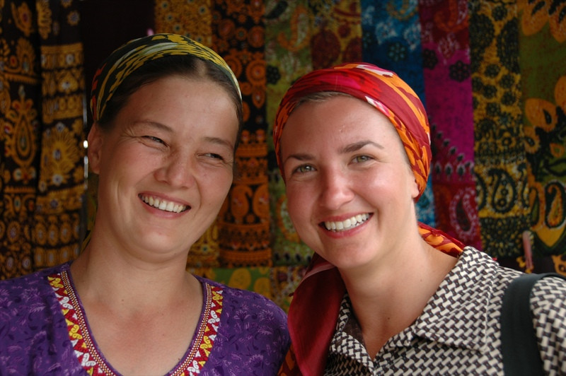 Audrey and Vendor with Colorful Scarves - Ashgabat, Turkmenistan