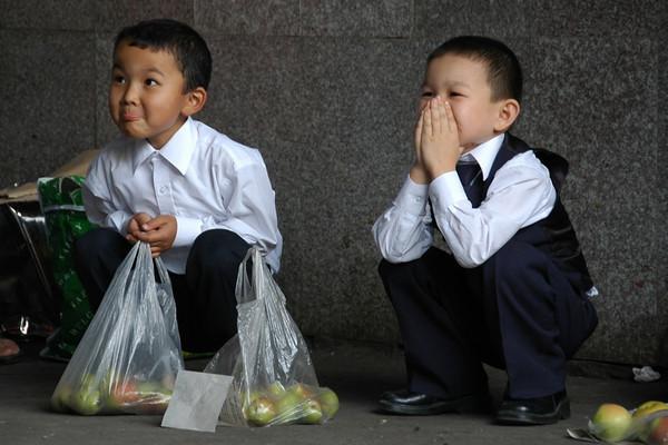 Young Boys Selling Apples at Zelyony Market - Almaty, Kazakhstan