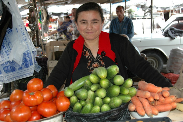 Smiling Vendor at Telavi Market - Kakheti, Georgia