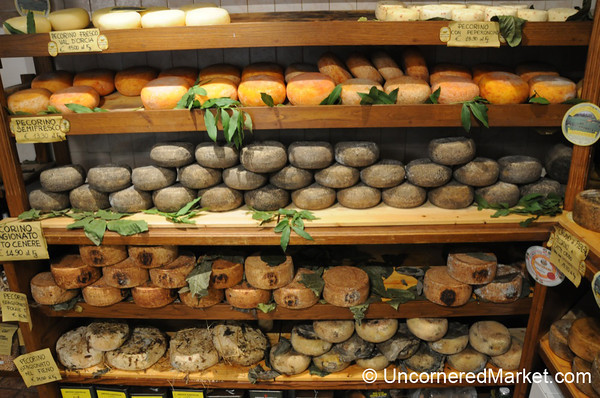 Lots of Pecorino Cheese - Pienza, Tuscany