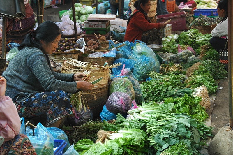 Fresh Vegetables at Phousy Market - Luang Prabang, Laos