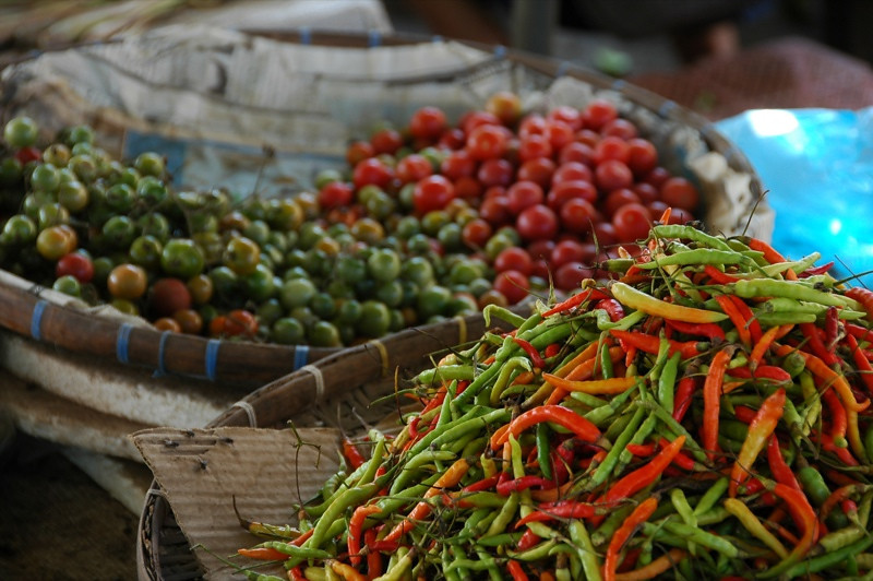 Chilies and Tomatoes at Phousy Market - Luang Prabang, Laos