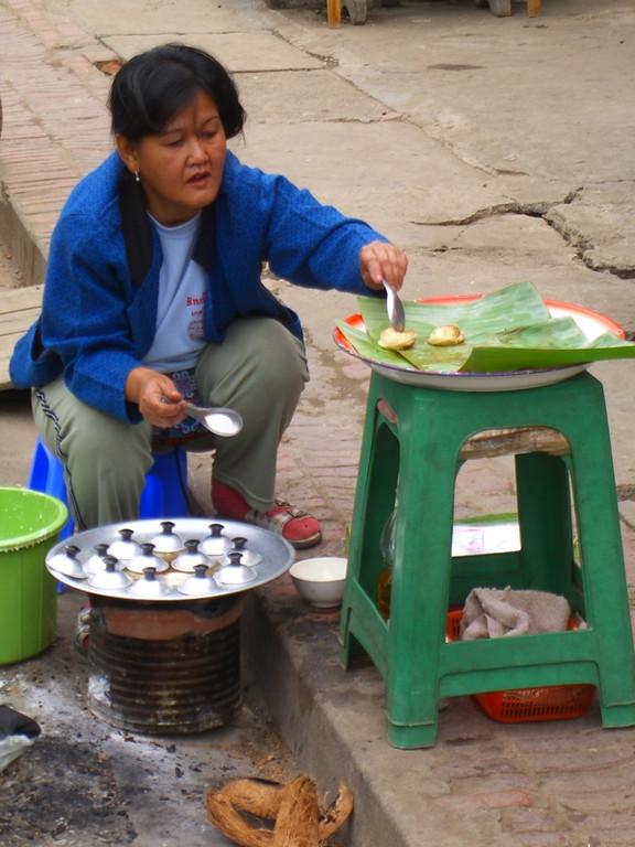 Pancake Fritters Vendor - Luang Prabang, Laos