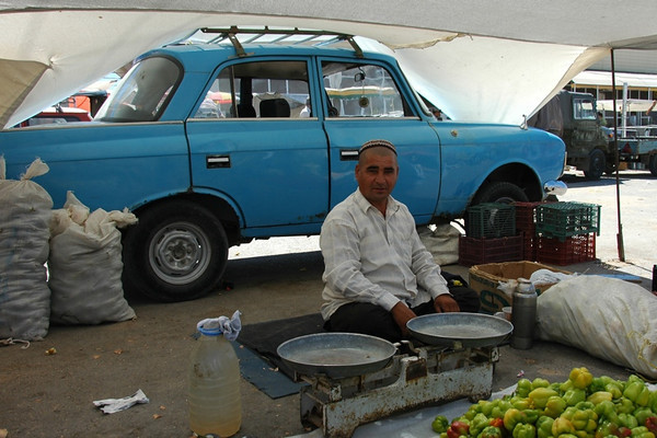 Vendor Selling By Old Car - Ashgabat, Turkmenistan