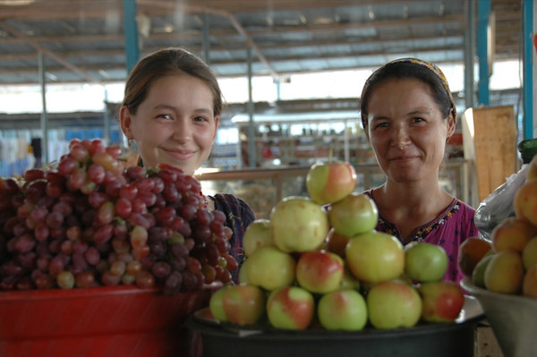 Women Vendor Smiles and Fruit - Mary, Turkmenistan