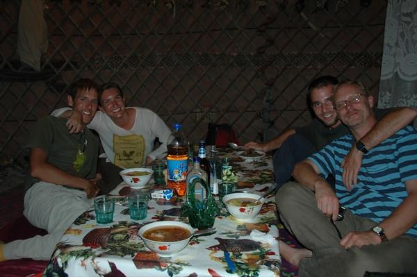 Enjoying A Turkmen Meal - Darvaza, Turkmenistan