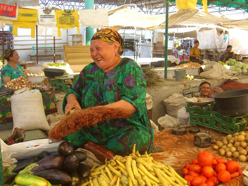 Cleaning Vegetables with a Broom - Konye-Urgench, Turkmenistan