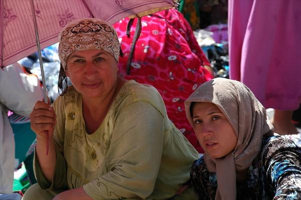 Vendors with Umbrella at Ippodrom Market - Tashkent, Uzbekistan